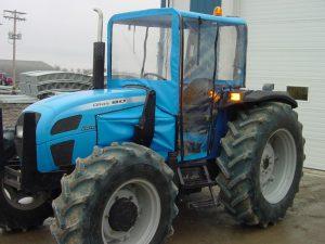 blue tractor enclosure